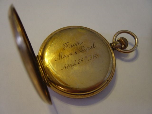 Photo by Lorine McGinnis Schulze of Charles Fuller's Gold Pocket Watch