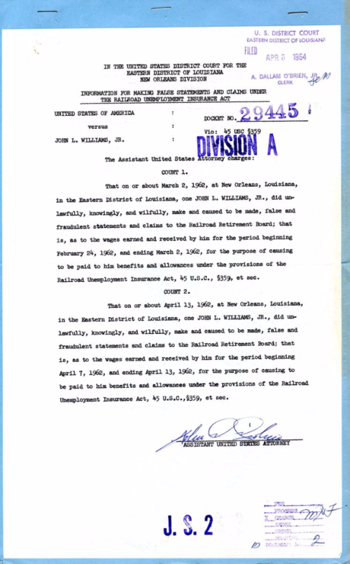 Record Group 21, U.S. v. John L. Williams Jr., Eastern Dist. of Louisiana, Criminal Case No. 29445. Image Source: National Archives and Records Administration