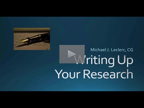 BCG Webinar - Writing Up Your Research