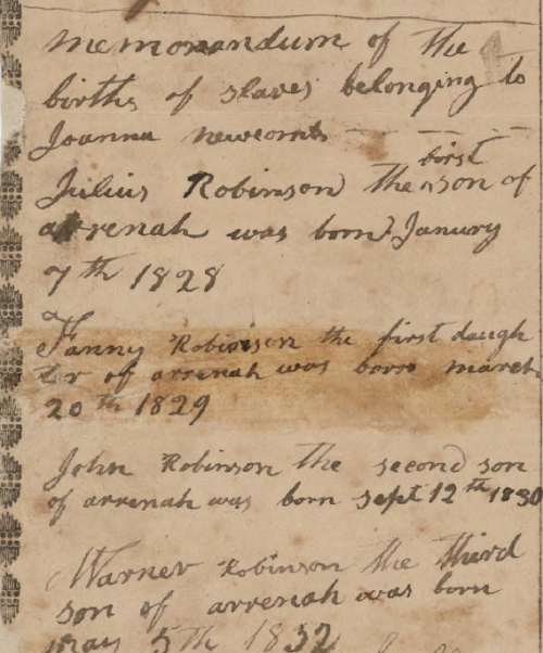 Fig 3. Memorandum of the births of slaves of Joanna Newcomb from Dawson Cooke's Revolutionary War Pension File (National Archives and Records Administration, NAID 7455382).