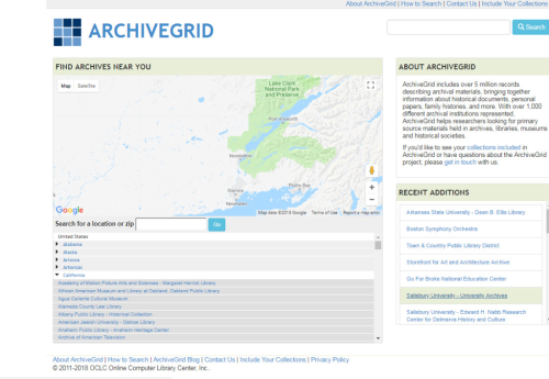 ArchiveGrid homepage