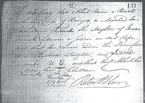 certificate concerning Loyalist Isaac Van Valkenburg aka Vollick
