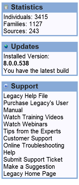 Legacy Statistics on Home Tab