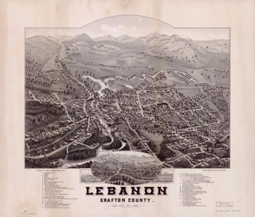 Panoramic Map on Lebanon, Grafton County, New Hampshire