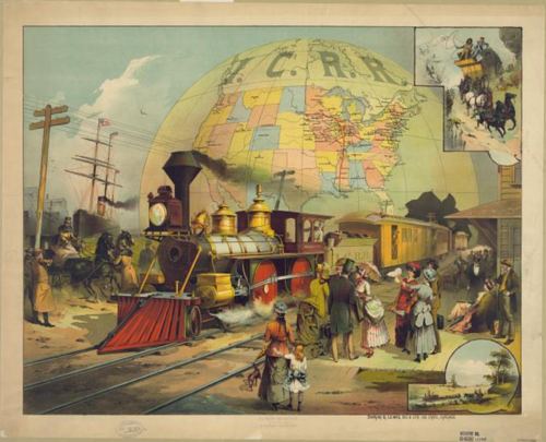 Passengers waiting for the Illinois Central Railroad train ca 1882  Credit:Library of Congress
