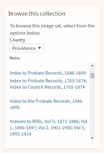Providence County Rhode Island Probate records on Ancestry.com