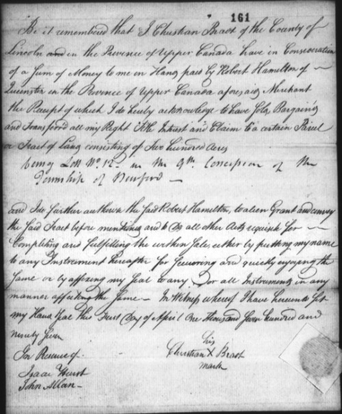 Film 1144. Land Record Letter from Christian Bradt in Newark, Lincoln County, Upper Canada