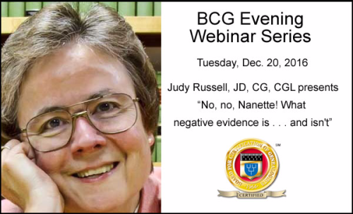 Register for BCG Webinar by Judy Russell: No, no, Nanette! What Negative Evidence Is . . . and Isn't