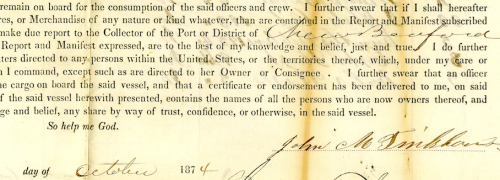 Fig 2. Inward Foreign Manifest of Whaling Brig Charles W. Morgan . The current master John Maxwell Pinkham of New Bedford, Massachuusetts signed under oath in 1874 that the manifest was correct. (National Archives and Records Administration, NAID 12022944).