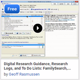 Digital Research Guidance, Research Logs, and To Do Lists: FamilySearch, Research Wiki, and Legacy Family Tree