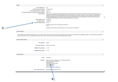 Fig 1 & 2. Screenshots of the information held in an online catalog entry for NARA.