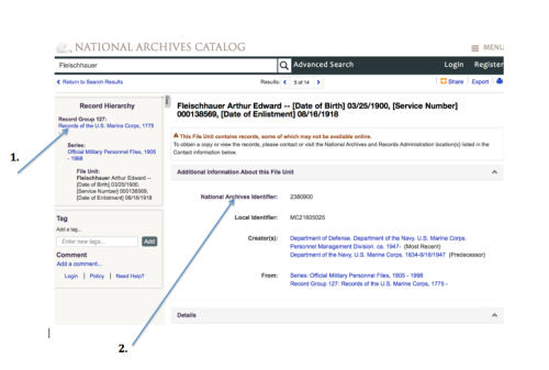 National Archives Catalog Search