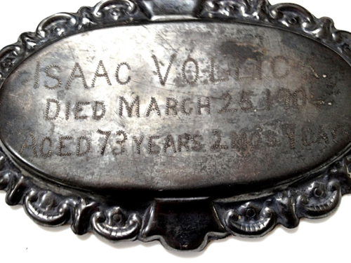 1904 Coffin Plate owned by L. McGinnis Schulze
