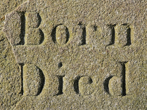 Born Died written in sand