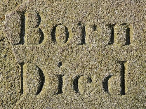 Born Died written in sand