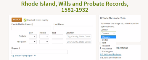 Rhode Island, Wills and Probate Records, 1582-1932