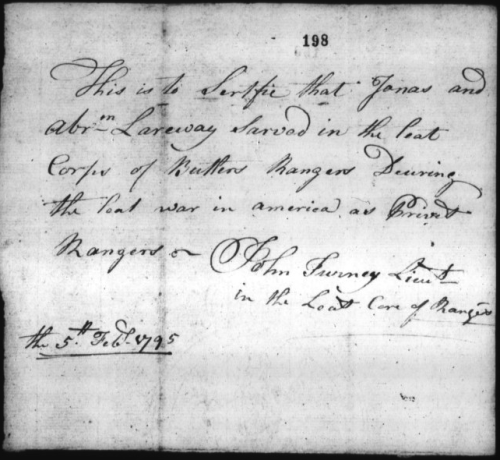 Film 1146. 1795 Certificate that Jonas & Abraham Larroway were in Butler's Rangers in American Revolution