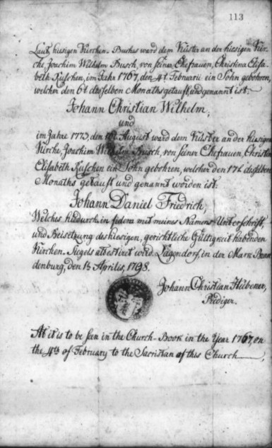 Film 1140. German Birth Certificate 1767