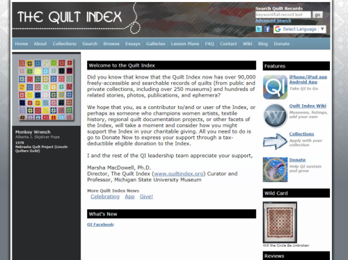 Quilt Index home page