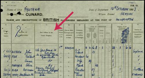 1923 UK Passenger-List