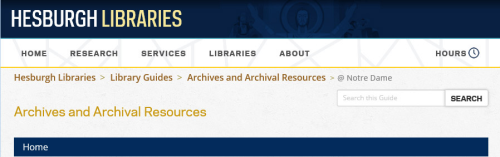 Archives and Archival Resources from the University of Notre Dame