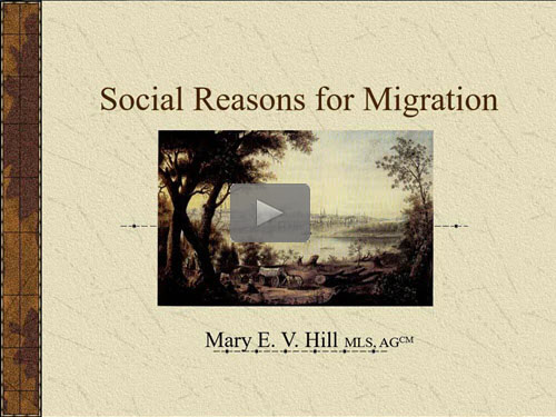 "New ""Member Friday"" Webinar - Social Reasons for Migration by Mary Hill, AG"