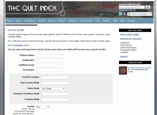 Quilt Index Search