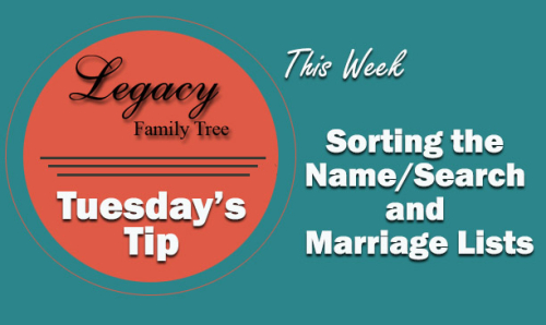 TT - Sorting the Name  Search and Marriage List