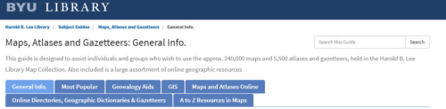 Maps, Atlases and Gazetteers: General Info from the BYU Library
