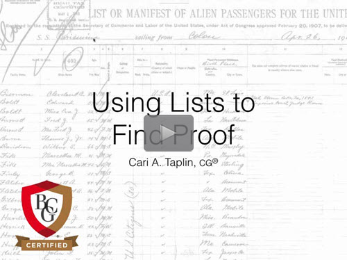 Using Lists to Find Proof - free BCG webinar by Cari Taplin, CG now online for limited time