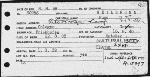 Kitchener Camp Registration Card for Hugo Heilbrunn