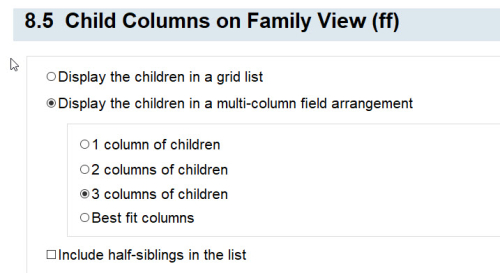 8.5 Child Columns on Family View