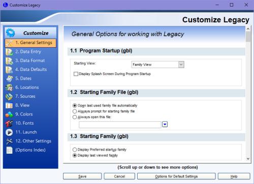 Options > Customize