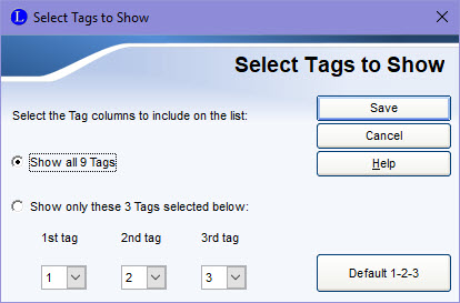 Select Tags to Show