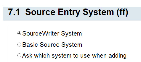 7.1 Source Entry System