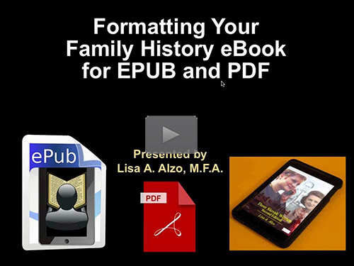 Formatting Your Family History eBook for ePub and PDF by Lisa Alzo