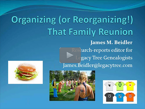 Organizing (or Reorganizing!) That Family Reunion by James Beidler