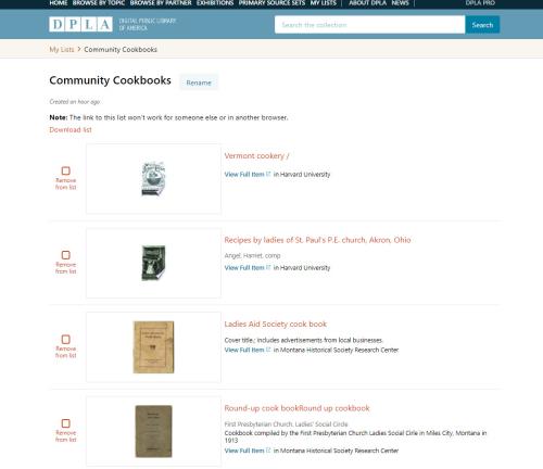 DPLA Community Cookbook List
