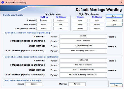 Default Marriage Wording