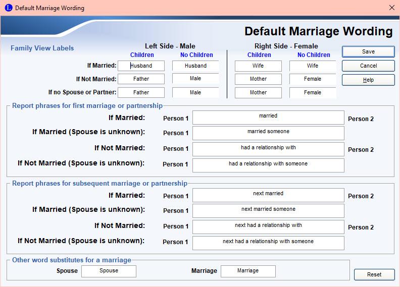 Default Marriage Wording
