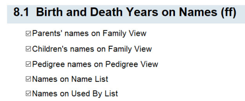 8.1 Birth and Death Years on Names