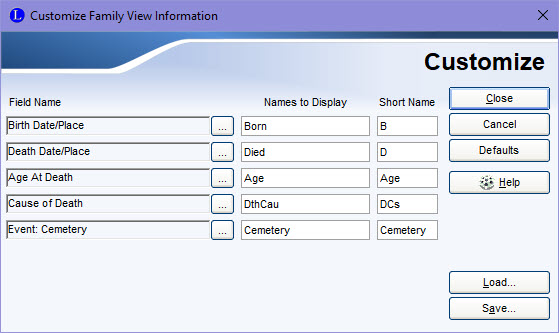 Customize Family View Information
