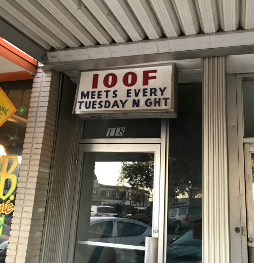 IOOF Meeting Place Sign, Denton, Texas. Photo by Gena Philibert-Ortega