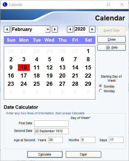 Enter dates