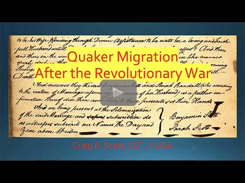 Quaker Migration after the Revolutionary War