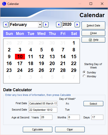 Calculated date