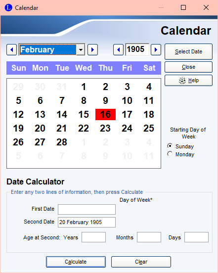 Calendar after you changed the date