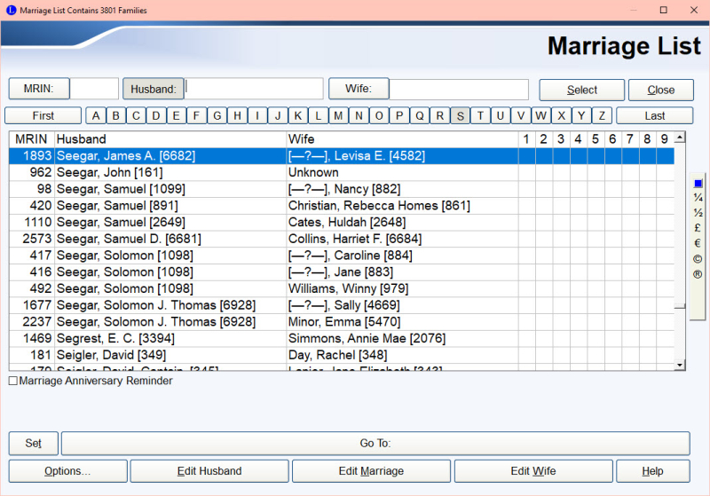 Marriage List