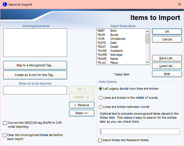 Items to Import