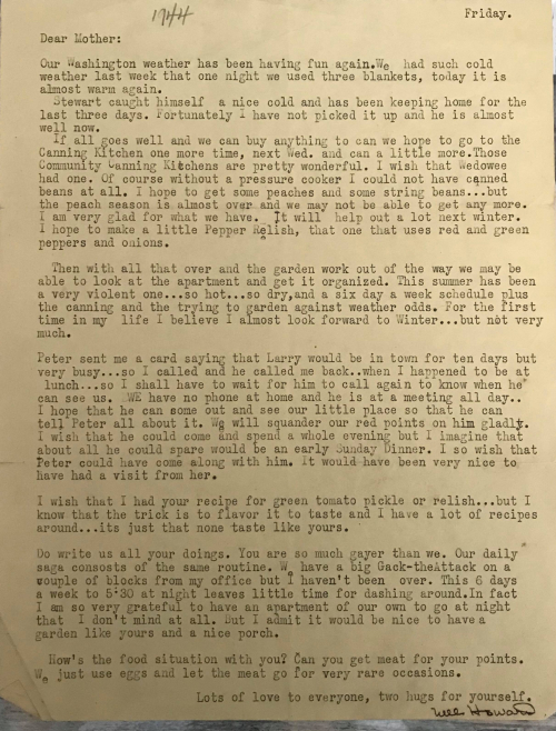 Nell Howard Enloe letter to mom